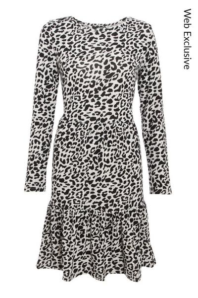 Grey Leopard Print Smock Dress